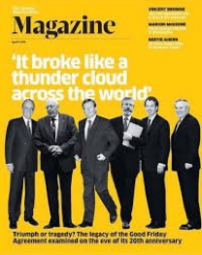 Cover of the Sunday Business Post's magazine commemorating the 20th Anniversary of the Good Friday Agreement. The newspaper has been criticised for 'airbrushing' women, in particular Mo Mowlam, from the peace process.